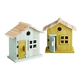 Relaxdays Nido artificiale casetta uccellini porta finestra legno piccola apertura HLP: 25,5 x 15,8 x 13 cm più colori