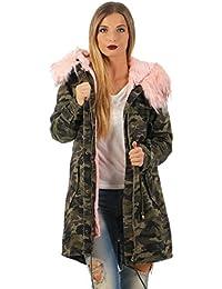 Fashion4Young Winter Parka Damen Winter Jacke XXL Mantel Kunstfell Kapuze Camouflage od. Jeans