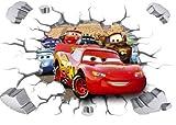 Kibi 3d Adesivo da Parete Cars di Arte Auto del Fumetto PVC Parete Rotto Adesivi Muro Cars Disney Camera dei Bambini Soggiorno Camera da Letto Decorazione Casa Stickers Murali Cars Rimovibili XXL