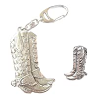Smartbadge® Cowboy Boots Pin Badge And Key ring Boxed Gift Set Handmade In Pewter + 59mm Button Badge