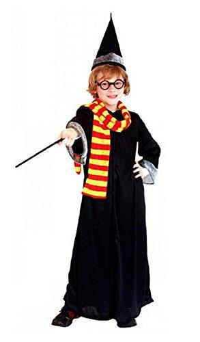 ♛ Größe XL - 7/8 Jahre - Kostüm Verkleidung Karneval und Halloween von Harry Töpfer Herr von dem Ringe komplett von Zubehör Farbe Schwarz männliches Kind (Kit Komplette Kleid)