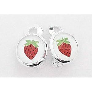 Kinder Ohrclips Erdbeere 10mm Motiv Cabochon Ohrringe handgefertigt by Schmuckphantasien in silber auch als Ohrstecker…