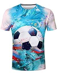 Qiusa Camiseta de la Personalidad de los Hombres Camisa Azul Hombres Copa del Mundo Camiseta de Manga Corta Camiseta de fútbol…