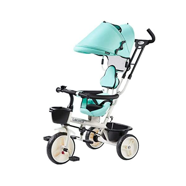 L@LILI Lightweight Children's Tricycle 1-3 Year Old Stroller Trolley Seat Can Be Rotated in Both Directions Multi-Purpose Titanium Wheel Carriage,A  Foldable footrest, adjustable push handle (88-93cm) for different ages Fully enclosed wheel, rear wheel brake, safe and secure Handrail built-in connecting rod, which can control the direction of the car through the armrest 1