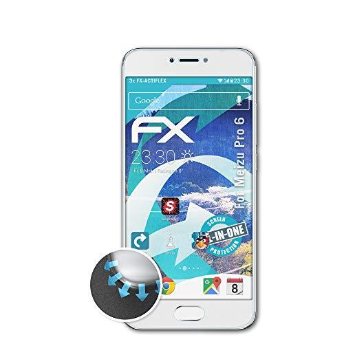 atFolix Schutzfolie passend für Meizu Pro 6 Folie, ultraklare & Flexible FX Bildschirmschutzfolie (3X)
