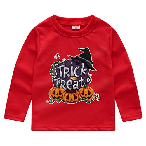 Romantic Kinder Baby Jungen Halloween Kostüme Lange Ärmel Bat/Kürbis/Brief Gedruckt T-Shirt Schickes Kürbis Kostüm Top Sweatshirts für Karneval Party Halloween - Piraten Lady Kleinkind Kostüm