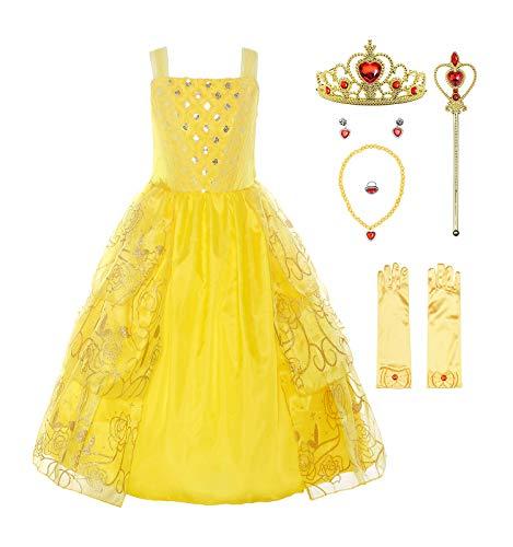 ReliBeauty Mädchen Kleider Paillette Prinzessin Kleid Einfarbig Ärmellos Rose Muster Blumen Kleid Cosplay Kostüme, Gelb(mit Zubehör), 128-134(Etikett 130) (Mädchen Prinzessin Belle Kostüm)