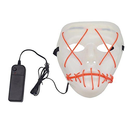 Halloween Scary Maske, Halloween Cosplay Licht LED Kostüm Maske EL Draht bis Maske für Halloween, Partys Festival rot