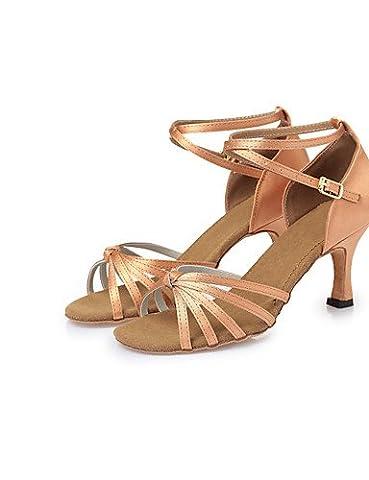 La mode moderne Non Sandales femmes personnalisables Chaussures de danse latine Satin Satin talon aiguille talons Piscine BrownCL26-CL38,Dark