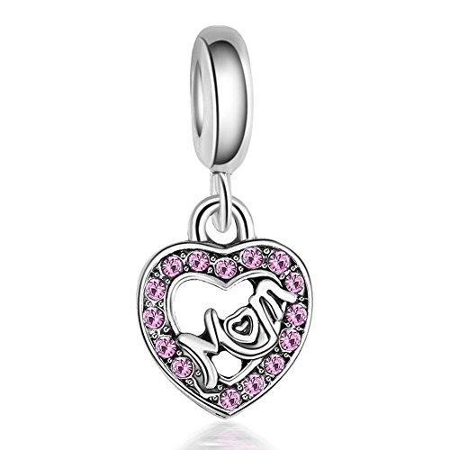 Waya plata charms mamá amor rosa sintético colgante de cristal para pulseras brazalete cadena de serpiente joyas