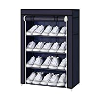 Four to Five Layer One Door Shoe Rack organizer NAVY BLUE