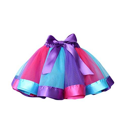 NiSeng Mädchen Band Regenbogen Tütü Tutu Petticoat Princess Ballettkleid Tanzkleid Ballettrock Kostüm (Kostüm Kilt Mädchen)