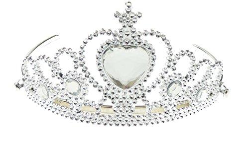 Mädchen Silber Kunststoff Tiara Mitte Herz Juwel in Klar (Kind Juwel Tiara)