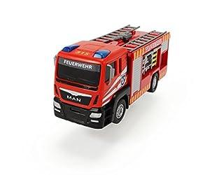 Dickie Toys 203712008–Camión de bomberos de la marca Man, coche de bomberos de 17cm con nombre de los bomberos en alemán («Feuerwehr»)