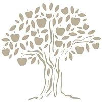 Stencil Mini Deco Vintage Figura 051 Manzano. Medidas aproximadas: Medida exterior del stencil: 12 x 12 cm Medida del diseño:8,5 x 8,3 cm
