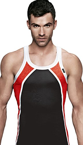 EURO Men's Cotton Vest (Pack Of 1) (DZIRE_RN-WHITE-RED-BLACK) (Size:XXX-Large)  available at amazon for Rs.319