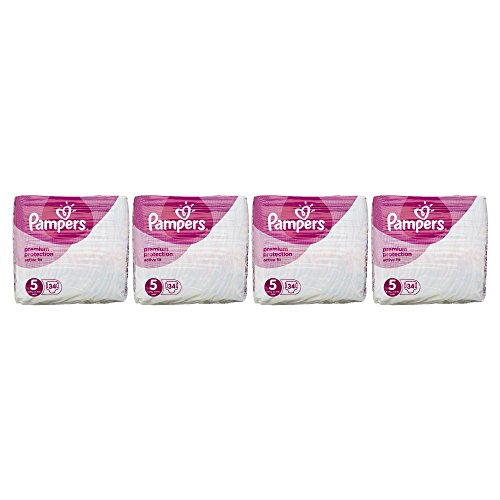 Pampers Premium Protection Active Fit Nappies, Monthly Saving Pack – Size 5, 136 Nappies