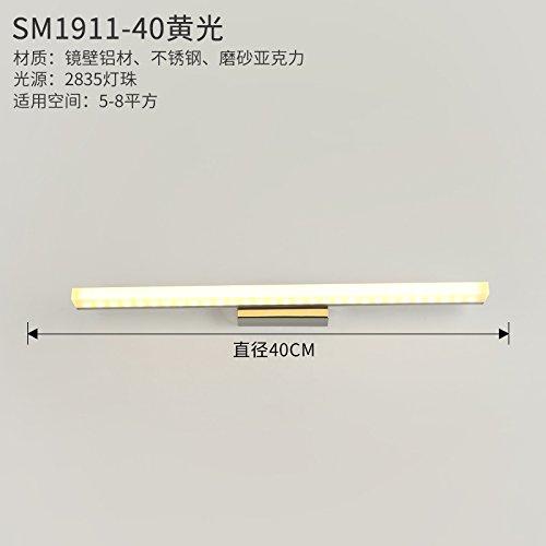 YU-K Modernos apliques de luz de espejo que no se empaña la vanidad baño apliques espejo led luces delanteras,40cm,7w, luz amarilla.