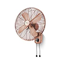 CAO-LIFE 16 Inches European Red Bronze Retro Wall Fan 3 Speeds Adjustable, Mechanical Style/Remote Control Style (color : Remote Control)
