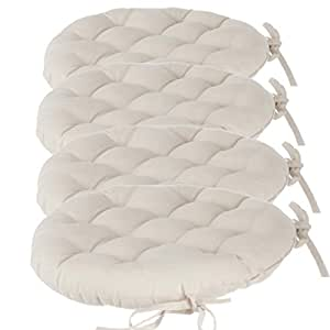 Set Of 4 Round Padded Chair Cushions With Ties Diameter