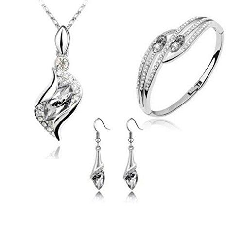 Ba Zha Hei Halskette Ohrring Armband Dreiteilig Mode-Stil-Schmuck-Set Crystal Chic Augen Drop Ohrringe Halskette Armband DIY Halskette Ohrringe Set (Weiß E) - Crystal Rock Damen-t-shirt