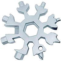 Sunei.f 18-en-1 herramienta multifunción de acero inoxidable bicicleta multifunción, copo de nieve llavero multiherramienta llavero abridor de botellas herramientas de la llave del anillo (plata)