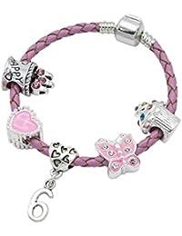 Brazalete de cuero rosa para niñas con abalorio de 6.°cumpleaños, viene en una bonita bolsa de regalo para joyería