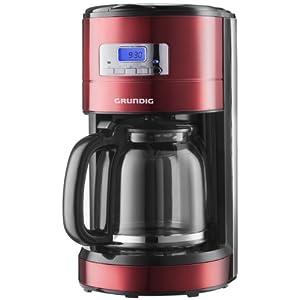 Grundig KM 6330 Kaffeemaschine Red Sense (1,8 l, Digitaluhr, programmierbare Startzeit) metallic rot