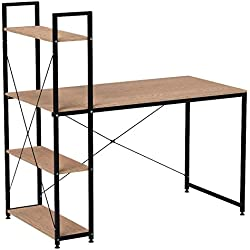 WOLTU TSB01hei Table de Bureau avec étagère de Rangement Bureau d'ordinateur Stable et Robuste env. 120x64x120 cm,Noir+Chêne Clair