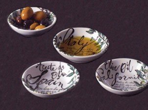 Rosanna Olive Oil Set of 4 Dipping Dishes, Gift-boxed by Rosanna Rosanna Olive
