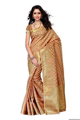 Mimosa Women'S Tussar Silk Saree With Blouse,Color:Chiku(3191-176-CHIKU)