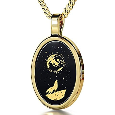 Collar I Love You to the Moon and Back con colgante de ónice negro ovalado inscrito en oro 24ct, 45cm - NanoStyle Jewellery
