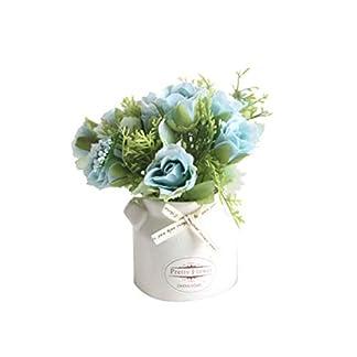 Homeofying – 1 jarrón de cerámica con Maceta de Flores Artificiales para decoración de Bodas y Fiestas