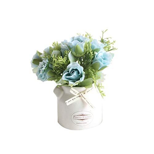 Homeofying - 1 jarrón cerámica Maceta Flores Artificiales