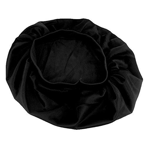 PinzhiNew Sleeping Hut Nacht Schlaf Cap Haarpflege Satin Bonnet Nightcap Für Frauen Männer(Schwarz )