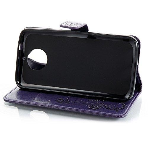 EKINHUI Case Cover Horizontale Folio Flip Stand Muster PU Leder Geldbörse Tasche Tasche mit geprägten Blumen & Lanyard & Card Slots für Motorola MOTO G6 Plus ( Color : Brown ) Purple