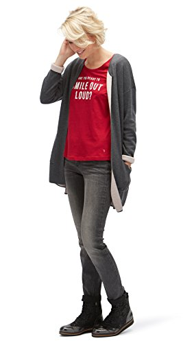 TOM TAILOR Damen Scoop Neck Wording T-Shirt Scooter red
