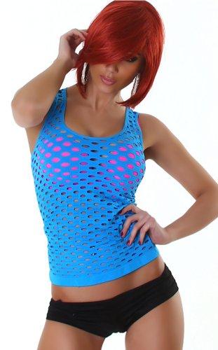 Haut Shirt Débardeur, réseau Net-Shirt - femme Turquoise