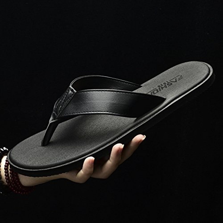 AIHUWAI Sandalen Männer Sandalen Sommer Flip Flops Herren Leder Hausschuhe Slip Flip Füße Strand Sandalen Und