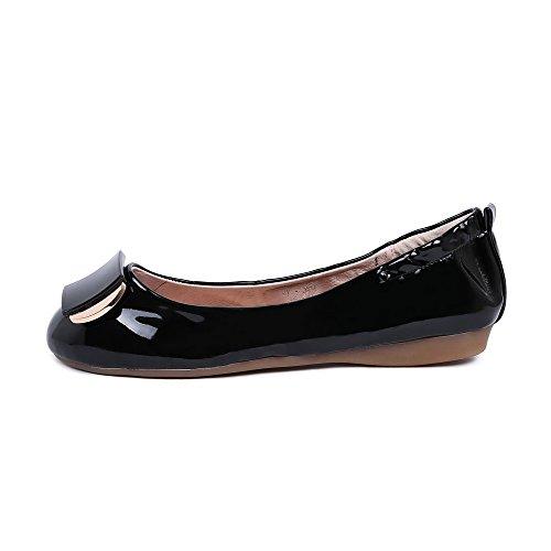 AgooLar Chaussures Couleur Noir Bas Femme Verni Talon Rond à Unie Légeres rwrx8