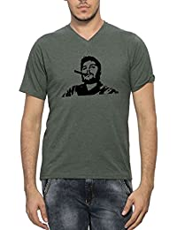 Clifton Men's Printed Half Sleeve V-Neck T-Shirt-Bottle Green Melange-Cigar Che Guevara