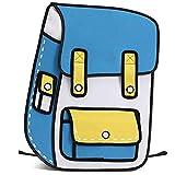 SJBZCY Rucksack 2018 Neue 3D Jump Stil 2D Zeichnung Cartoon Papiertüte Comic Rucksack Messenger Tote Mode Niedlichen Student Taschen, A