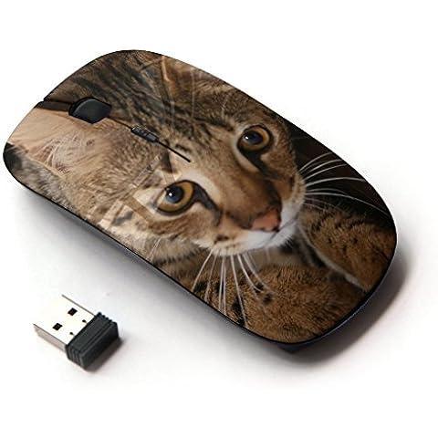 Peculiar-Star ( Savannah Ocicat Serengeti Toyger Cat ) Impreso colorido ultrafino sin hilos óptico del ratón de 2,4 GHz-Negro