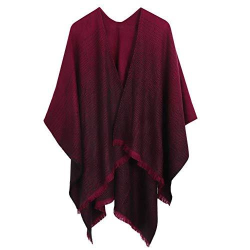 MYSKR Gestohlener Kaschmir gestrickter Poncho wickelt Frauen-Winter-Schal-gestreifte Quasten-Strickjacke-warme Schal-Schals für Damen EIN -