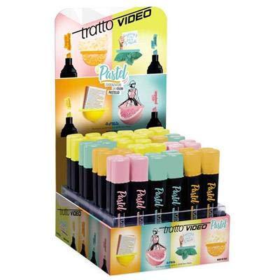 Tratto video evidenziatori pastel (colori pastello) confezione da 48 evidenziatori (rosa giallo arancione e azzurro)