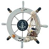 knowledgi Timone Barca Decorativo in Legno Stile Mediterraneo per Decorazione Timone Barca in Legno da Parete Decorazione Tema Marino Nautico Mare
