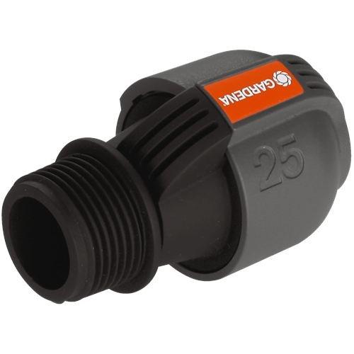 """GARDENA Sprinklersystem Verbinder: Verbindungsstück für Rohranschluss an Bewässerungsventile und Direktanschluss an Hausinstallation, 25 mm x 1""""-Außengewinde, Quick&Easy Verbindungstechnik (2763-20)"""