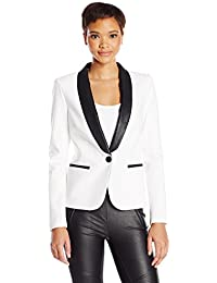 5390bd034db4f James Jeans Women s Tuxedo Jacket with Faux-Leather Lapels in Ivory Black  Ponte