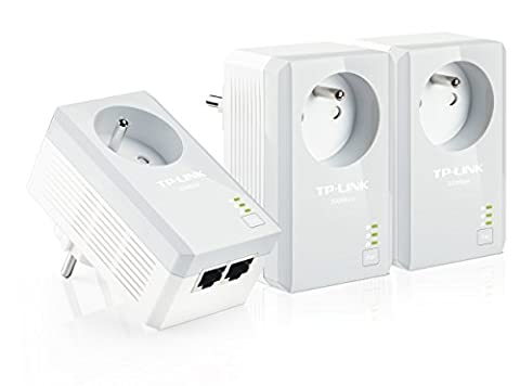 TP-Link CPL AV500 (Débit 500 Mbps), 2 Ports Fast Ethernet, Prise Intégrée Version Française, Pack de 3 CPL (TL-PA4025PT KIT)