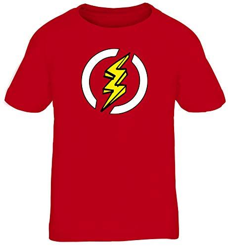 Blitz Kostüm Superheld Comic Kinder T-Shirt Karneval & Fasching witzige Verkleidung Rot // 8 Jahre (118cm - 128cm)